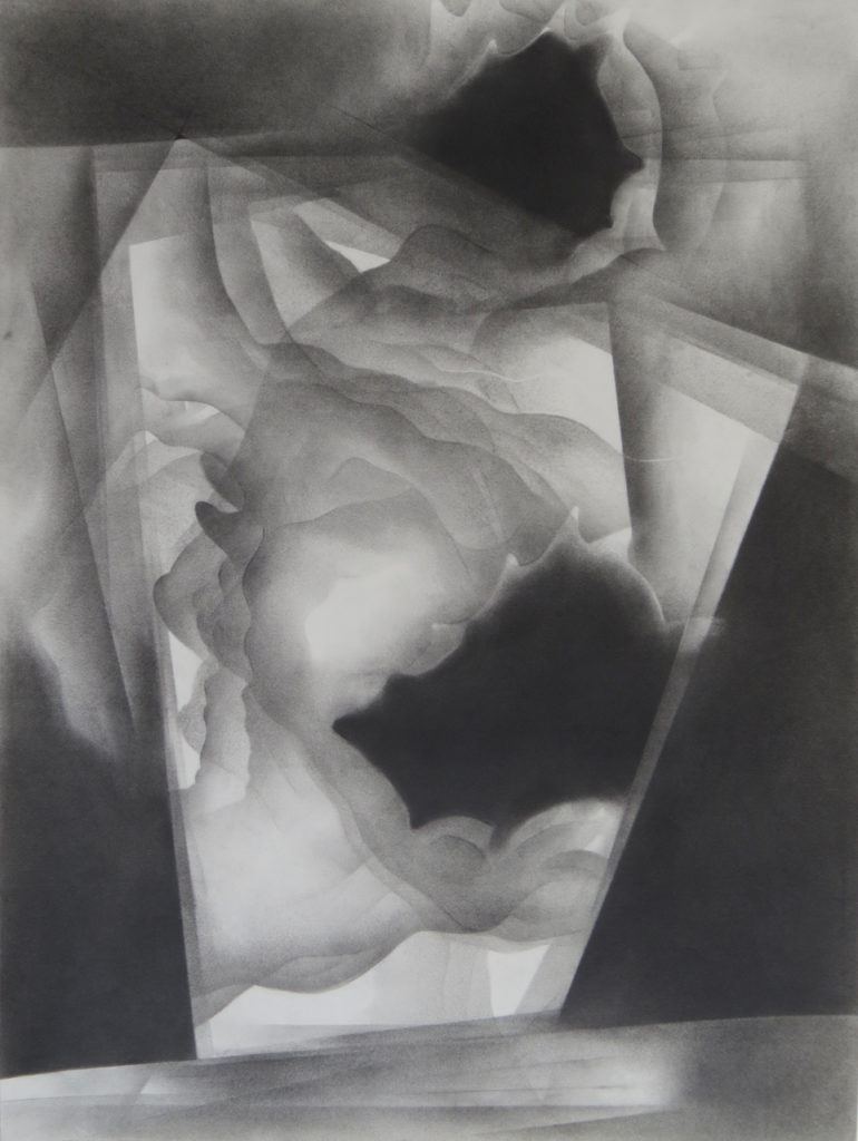 monochromatic black and white graphite drawing nature ocean storm