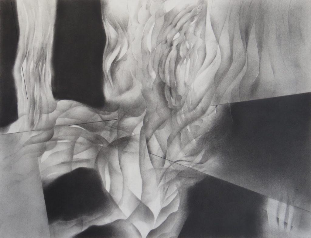 monochromatic black and white graphite drawing nature ocean sandbar