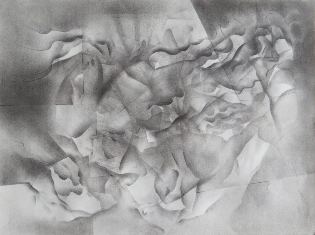 monochromatic black and white graphite drawing nature ocean mermaid