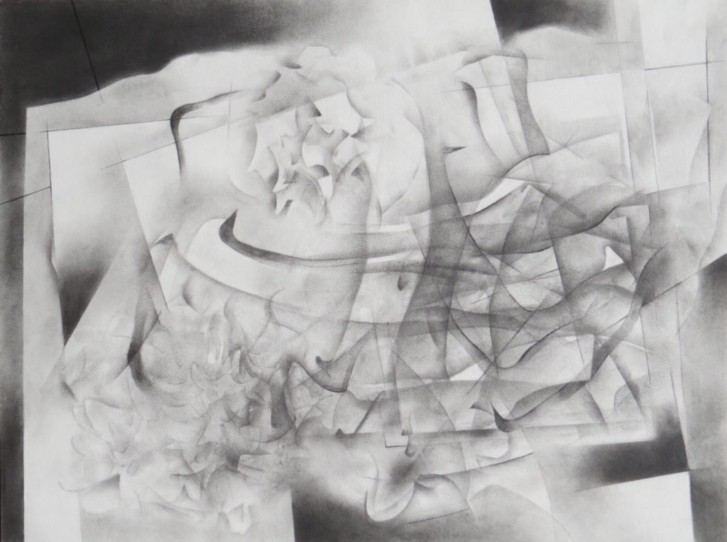 monochromatic black and white graphite drawing nature ocean reef