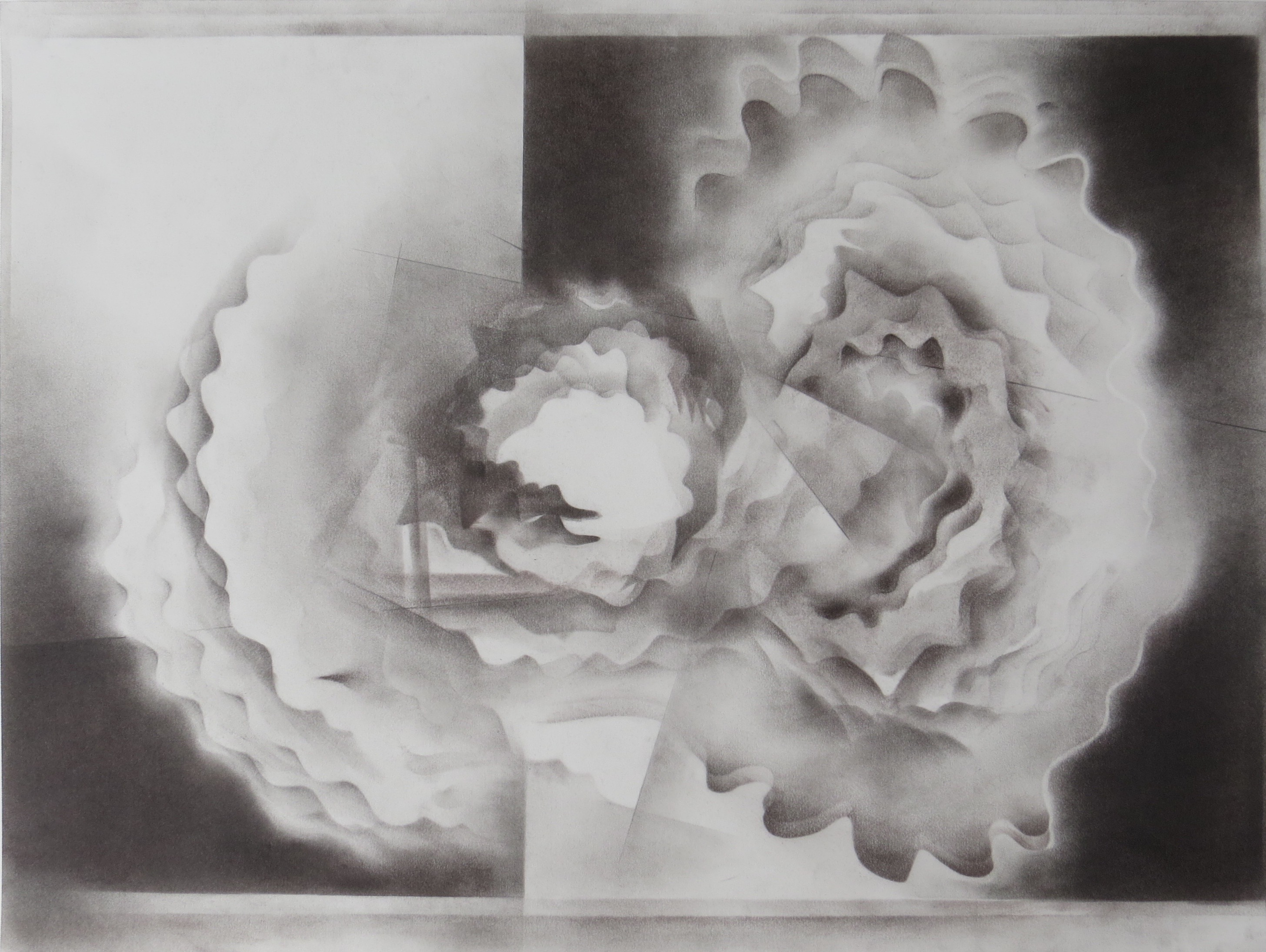 monochromatic black and white graphite drawing nature ocean water reflections